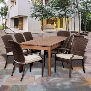 Amazonia Granada 9-pc Dining Rectangular Wood & Wicker Set