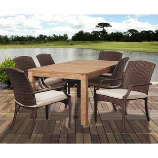 Amazonia Teak Piemonte 7-piece Dining Teak and Wicker Set