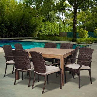Amazonia Piemonte 9-piece Teak and Synthetic Wicker Square Dining Set with Off-white Cushions