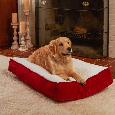 Happy Hounds Buster Crimson Sherpa Dog Bed