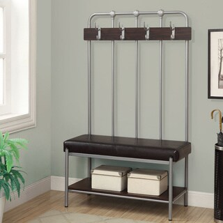 Monarch Tall Silver/ Brown Entryway Bench