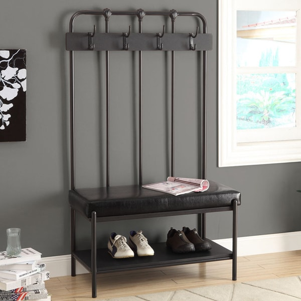Shop Monarch 60 Inch Charcoal Black Entry Bench Free Shipping
