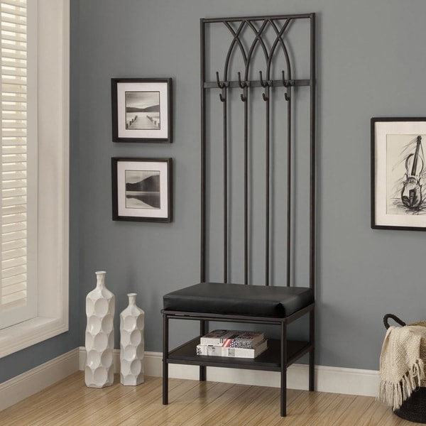Shop Monarch 72 Inch Black Hammered Metal Entry Bench