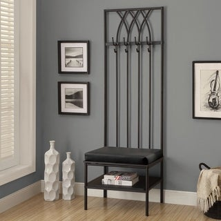 Monarch 72-inch Black Hammered Metal Entry Bench