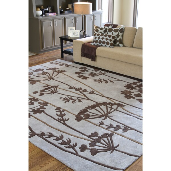 Hand-Tufted Hork Contemporary Floral Area Rug - 9' x 13'