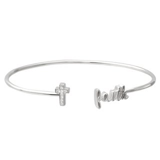 Journee Collection Sterling Silver Cubic Zirconia Faith Bracelet