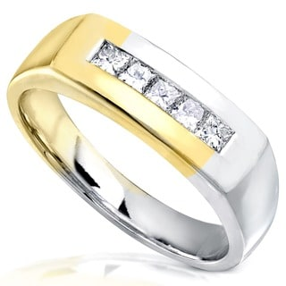 Annello 18k Two-tone Gold 1/2ct TDW Men's Diamond Wedding Band (G-H, VS1-VS2)