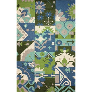 nuLOOM Hand-hooked Patchwork Wool Blue Rug (8' 6 x 11' 6)