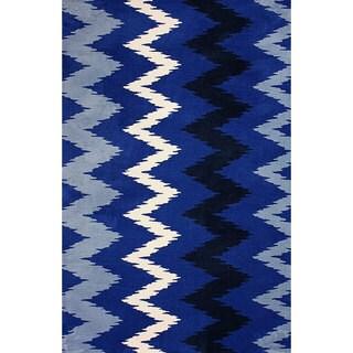 nuLOOM Machine-made Chevron Microfiber Blue Rug (7' 6 x 9' 6)