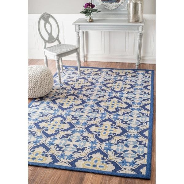 nuLOOM Hand-hooked Trellis Wool Blue Rug (8' 6 x 11' 6)