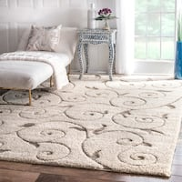 nuLOOM Cream Machine-made Vine Swirls Shag Area Rug (9'2 x 12') - 9'2 x 12'