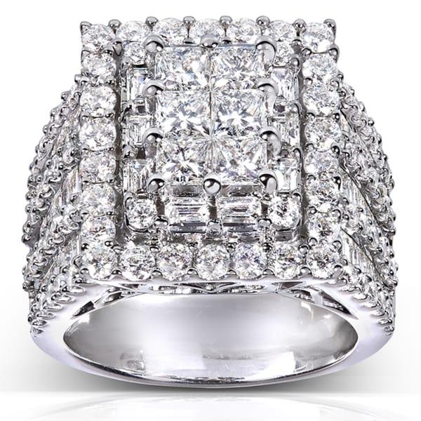 Annello by Kobelli 14k White Gold 5ct TDW Multi Stone Large Diamond Ring (E-F, SI1-SI2)