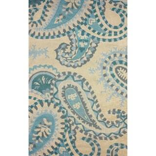 nuLOOM Hand-hooked Paisley Wool Beige Rug (8' 6 x 11' 6)