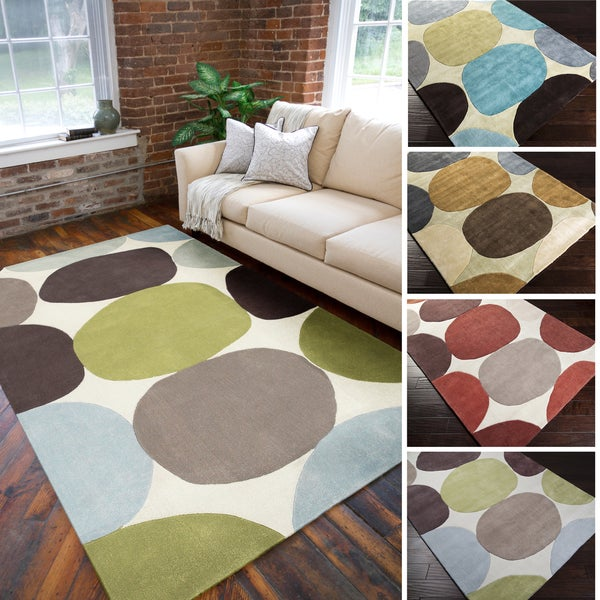 Shop Hand Tufted Large Dot Geometric Area Rug 8 X 11
