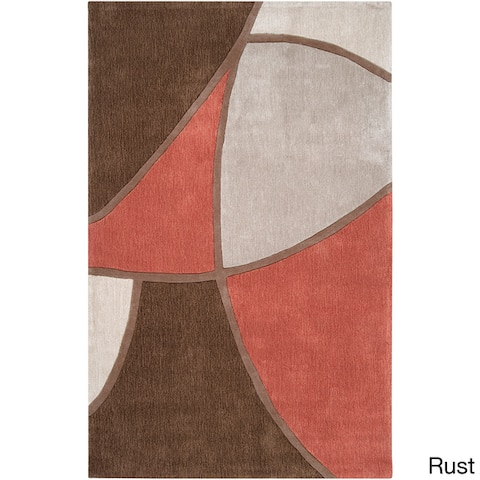 Porch & Den Gervais Hand-tufted Brown and Red Abstract Area Rug - 9' x 13'