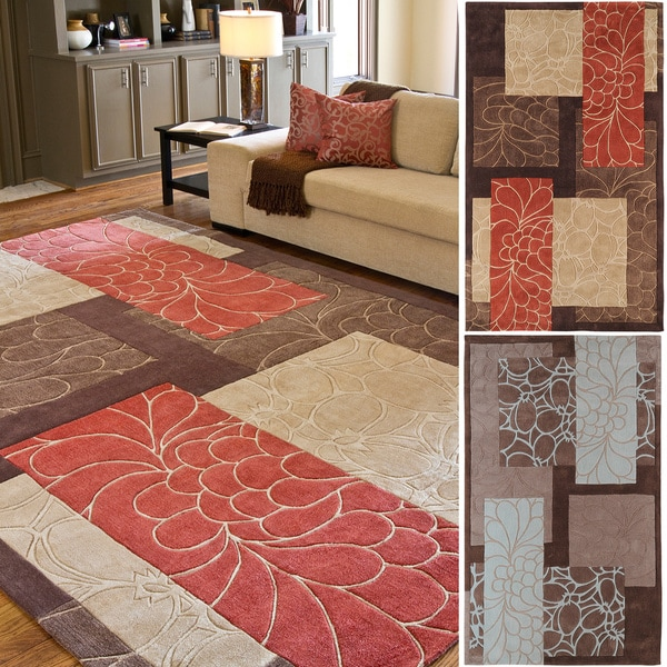 Hand-tufted Floral Outline Area Rug - 9' x 13'
