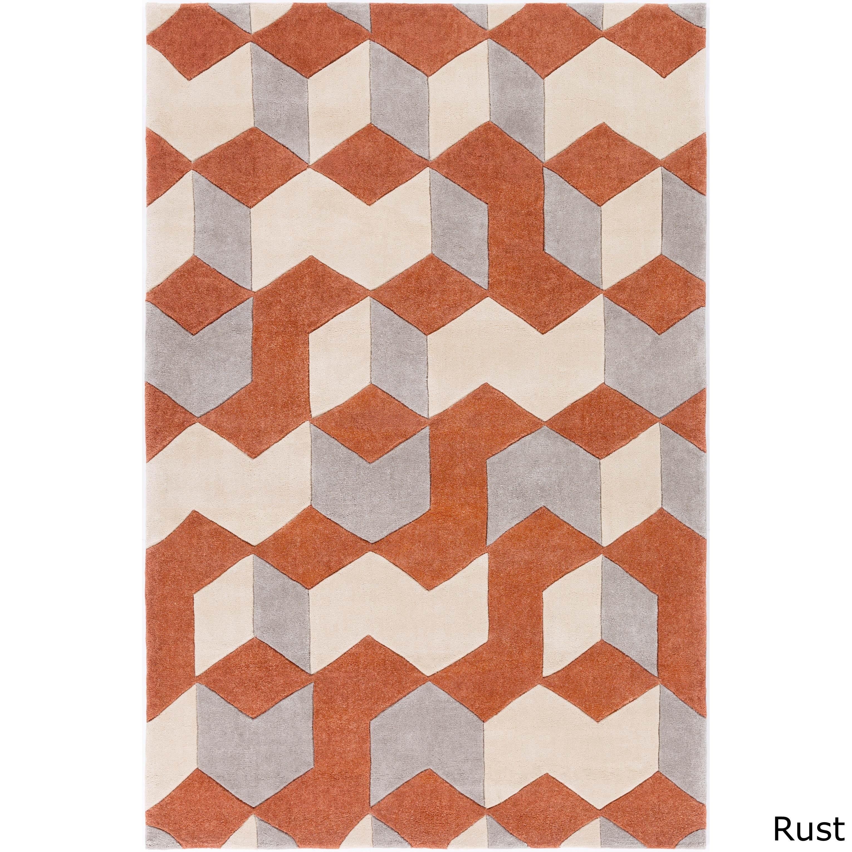 On Your Feet Hand-tufted Beecher Geometric Teal Area Rug ...