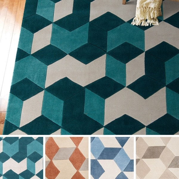 Shop Hand-tufted Beecher Geometric Teal Area Rug