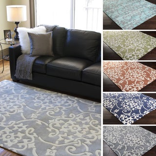 Hand-Tufted Floral Contemporary Area Rug-(8' x 11')