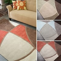 Oliver & James Mori Hand-tufted Brown and Red Abstract Area Rug