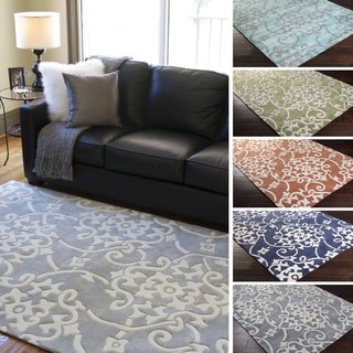 Hand-Tufted Floral Contemporary Area Rug-(2' x 3')