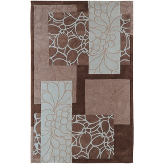 Hand-Tufted Floral Contemporary Area Rug (8 x 11 - Light Blue/Brown)