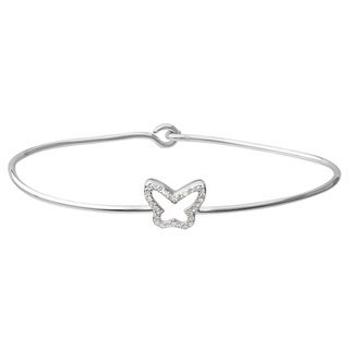 Journee Collection Sterling Silver Cubic Zirconia Butterfly Bracelet