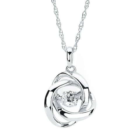 Brilliance in Motion Sterling Silver .20ct TDW Love Knot Diamond Pendant w/ Chain