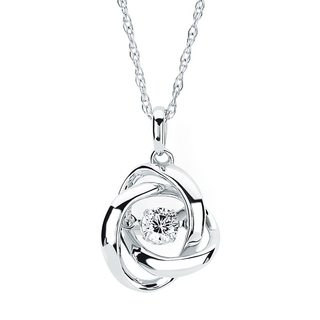 Boston Bay Diamonds Brilliance in Motion Sterling Silver 1/5ct TDW Love Knot Floating Diamond Necklace (I-J, I1-I2)
