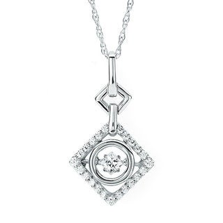 Boston Bay Diamonds Brilliance in Motion Sterling Silver 1/4ct TDW Geometric Floating Diamond Necklace (I-J, I1-I2)
