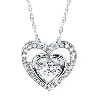 Boston Bay Diamonds Brilliance in Motion Sterling Silver 1/4ct TDW Double Heart Floating Diamond Necklace (I-J, I1-I2)