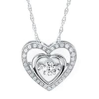 Brilliance in Motion Sterling Silver .25ct TDW Double Heart Diamond Pendant w/ Chain