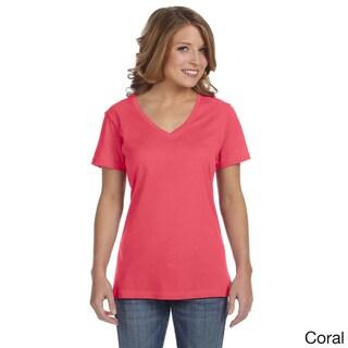 Anvil Women's Semi-sheer V-neck T-shirt