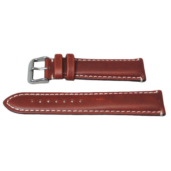Hadley Roma Oil Tanned Genuine Leather Chestnut Watch Strap With Contrast Stitching
