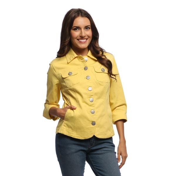 Live A Little Women's Yellow Blazer Hem Jacket