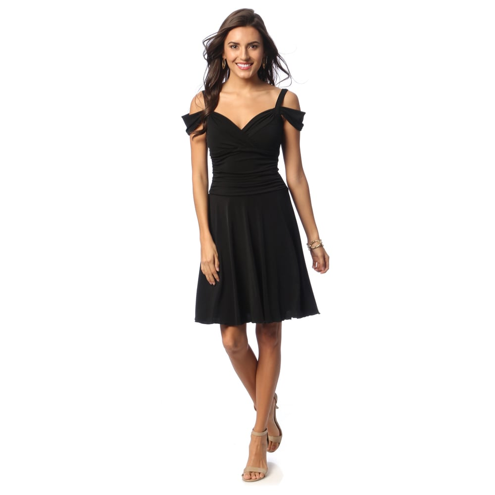 Evanese Womens Draped Shoulder Sweetheart Dress