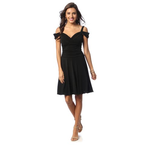 Evanese Women's Draped Shoulder Sweetheart Dress