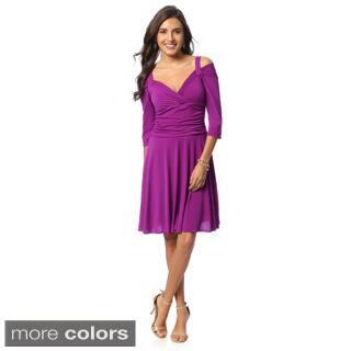 Evanese Women's 3/4-sleeve Skater Dress|https://ak1.ostkcdn.com/images/products/8929370/Evanese-Womens-3-4-sleeve-Skater-Dress-P16144709.jpg?impolicy=medium