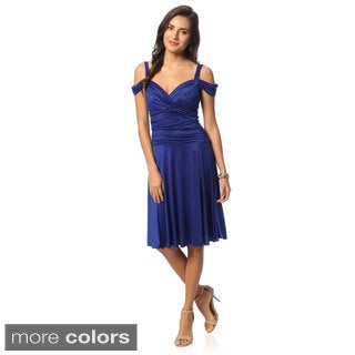 Evanese Women's Shiny Venezia Off-shoulder Sweetheart Dress