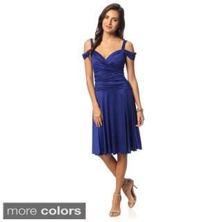 Evanese Women's Shiny Venezia Off-shoulder Sweetheart Dress
