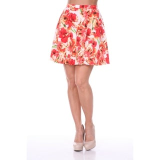 White Mark Women's Floral Flared Mini Skirt