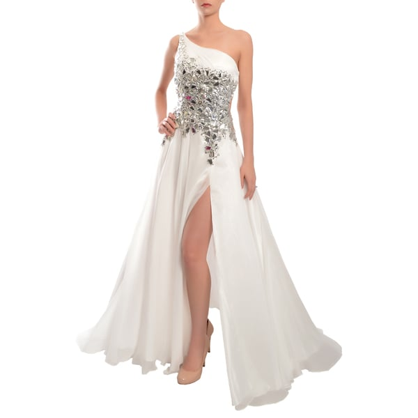 Mac Duggal Women's White Stone-encrusted One-shoulder Evening Gown