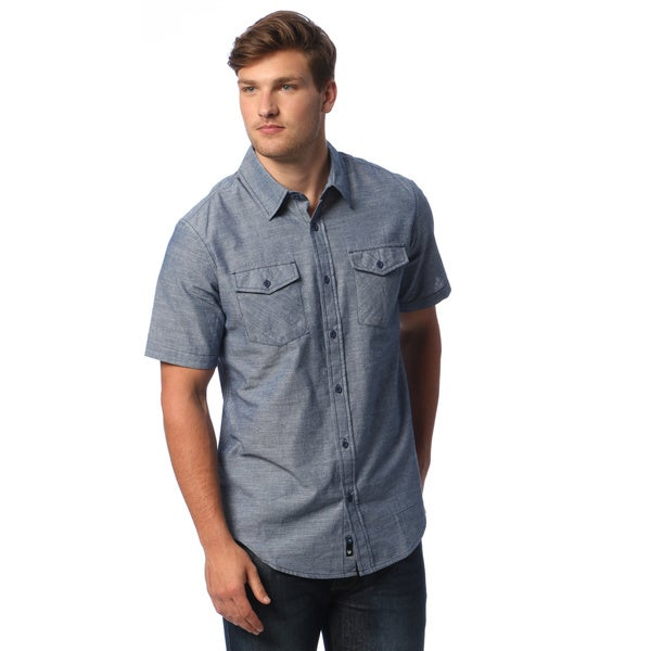 7548534d06ad Shop Burnside Men s Chambray Short-sleeve Shirt - Free Shipping On ...