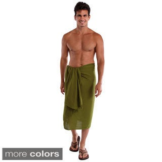 1 World Sarongs Men's Solid-color Wraparound Sarong (Indonesia)