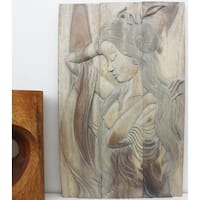 Hand-carved 'Phuying' 24 x 36-inch Monkey Wood Hanging Wall Panel
