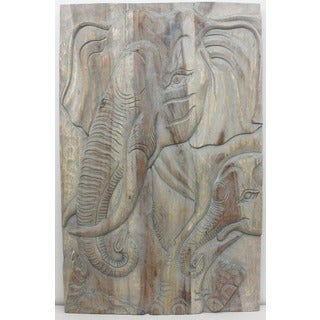Hand-carved 'Gentle Giant Elephant Mother' 24 x 36-inch Monkey Wood Wall Panel , Handmade in Thailand