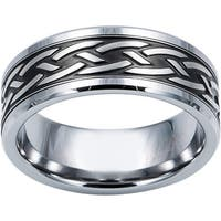 Cambridge Steel and Tungsten Carbide Patterned Woven Comfort Fit Band