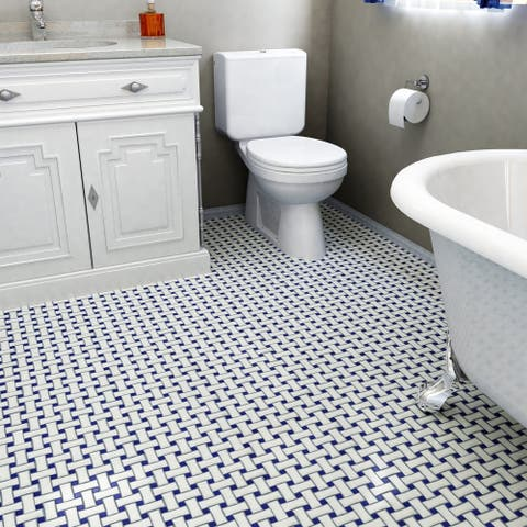 SomerTile 10.5x10.5-inch Victorian Dog Bone Basket Weave White/Cobalt Porcelain Mosaic Floor and Wall Tile(10 tiles/7.84 sqft.)