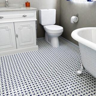 SomerTile 10.5x10.5-inch Victorian Basket Weave White/Cobalt Porcelain Mosaic Floor and Wall Tile(10 tiles/7.84 sqft.)