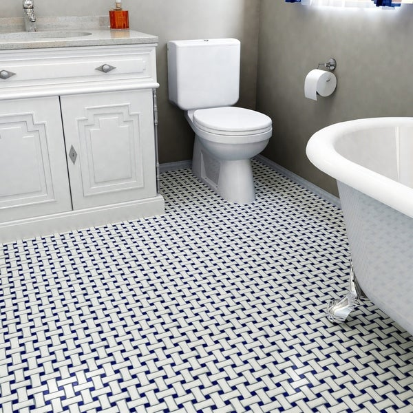 Somertile 10 5x10 5 Inch Victorian Basket Weave White And